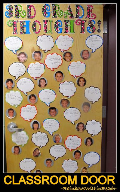 photo of: Classroom Door of Student Photos with Quote Bubbles via RainbowsWithinReach