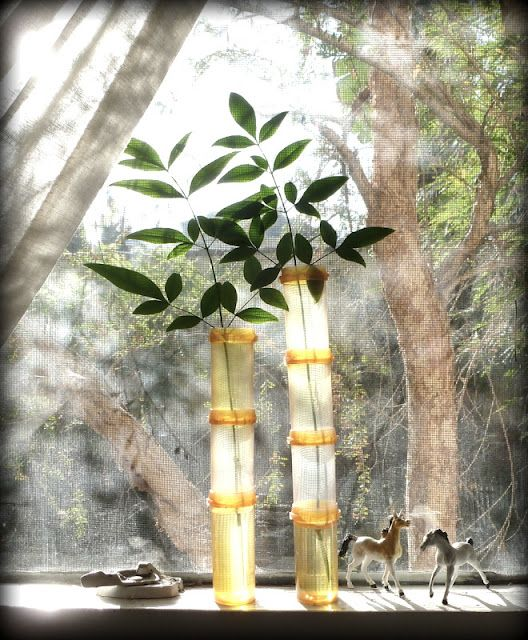 Faux Bamboo Vase - Pill bottles are so shabby chic!
