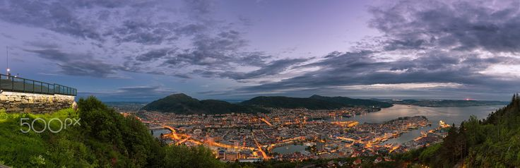 "Spring Night in Bergen - Panorama of the city of Bergen, Norway in twilight, captured on ""Mount Fløyen""."