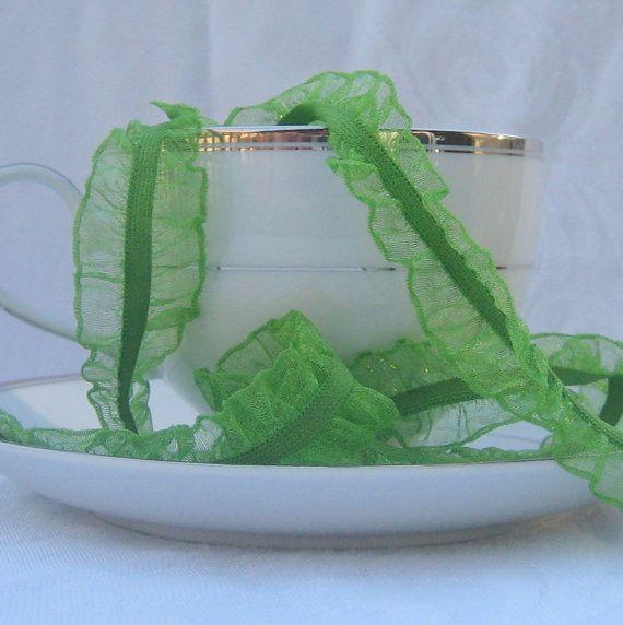 Green Wavy Edge Elastic Ribbon 1 wide   1 yard by RibbonRac, $1.40