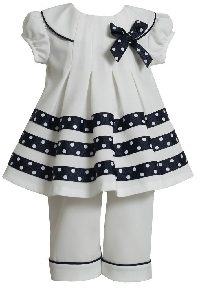 Bonnie Jean Girls White Nautical Sailor Spring Summer Dress Outfit Set 12M