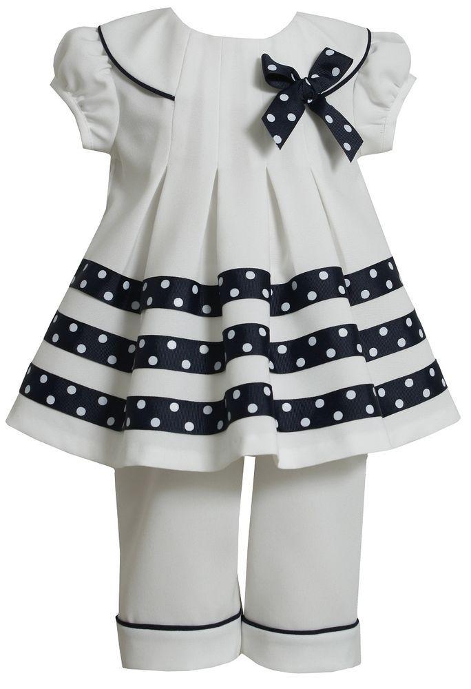 Bonnie Jean Girls White Nautical Sailor Spring Summer Dress Outfit Set 12M