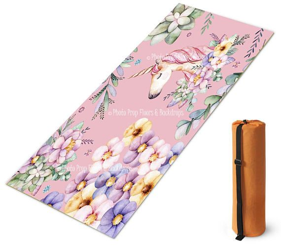 18e385b45e Unicorn Floral Custom Printed Yoga Mat with Carrying Bag