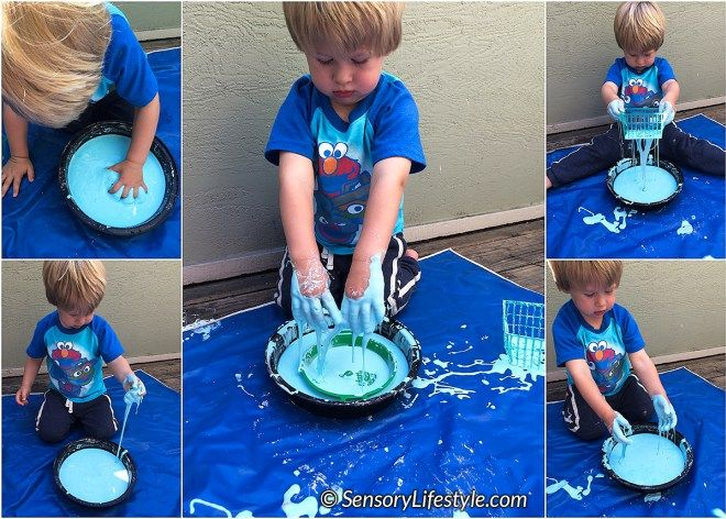 Encouraging pretend play, jumping, stamping, playing with balloons, rice and Oobleck are few sensory activities in this months post.