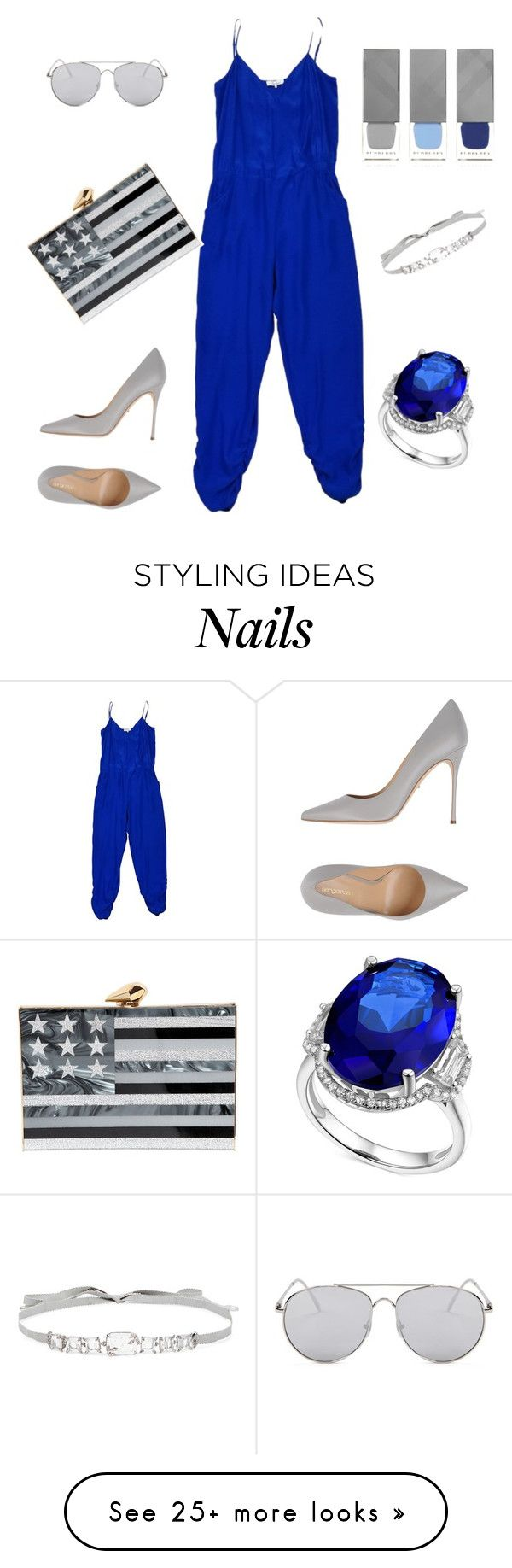 """Blue and Gray... current obsession"" by aubreywashername on Polyvore featuring Parker, Sergio Rossi, Forever 21, Jenny Packham, KOTUR, Burberry and jumpsuits"