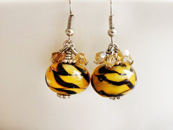 Tiger Earrings Wild Animals Lampwork Glass by GlassHouseLampwork