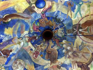 Designed by Hollywood art director turned muralist Hugo Ballin, the subtle, circular painting depicts the signs of the zodiac and other celestial objects. An interesting side note: Ballin was a sketch artist on the film The Wizard of Oz, which might explain the ceiling's whimsical look