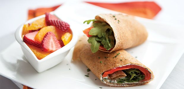 Smoked Salmon Rye Crepe Rolls, alive #379, May 2014