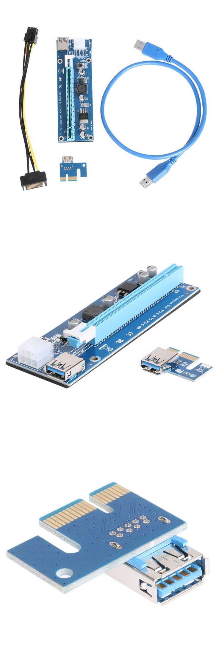 [Visit to Buy] PCI-E Express Riser Card 1x to 16x PCI  Extender 60cm USB 3.0 Cable SATA to 6Pin Power for Bitcoin BTC Miner Mining Full Stock #Advertisement