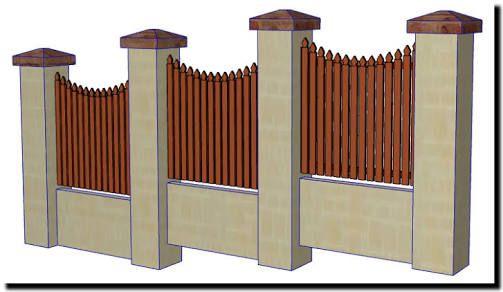 Image result for picket & brick  fence