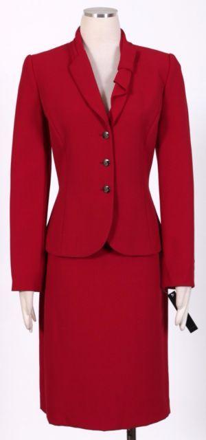 ad541fd40100 Tahari by ASL 2028 Three Button ShawlCollar Womens 2pc Skirt Suit 8 ...