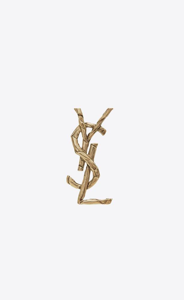 5f1debd656f SAINT LAURENT Brooch Woman Monogram draped bow brooch in light gold metal  a_V4 | YSL 2018 Pre-Order | Brooch, Ysl, Bridesmaid jewelry sets