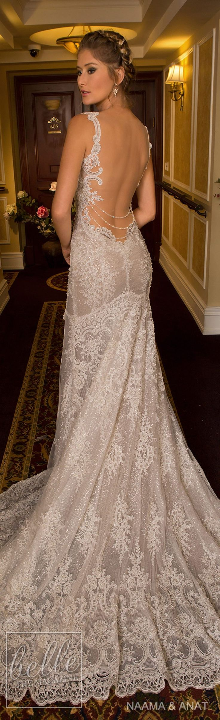 """Naama & Anat 2018 Wedding Dresses - """"Starlight"""" Bridal Collection. Beautiful dress...wish the back was a few inches higher."""
