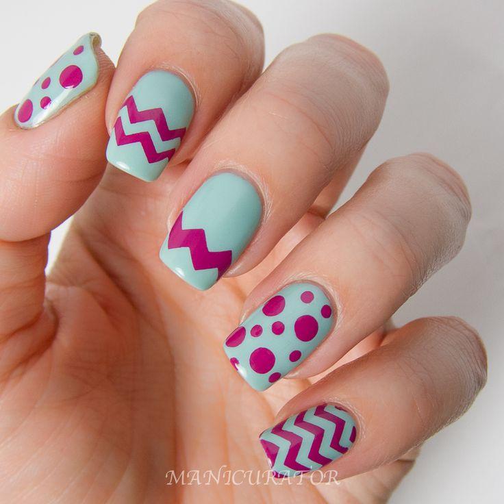 KBShimmer Spring 2014 Chevron Dot Nail Art Easter Design - Manicurator