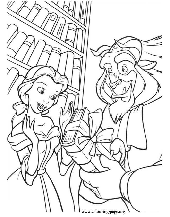 in this coloring picture beast gave a beautiful book as gift to belle colouring pages