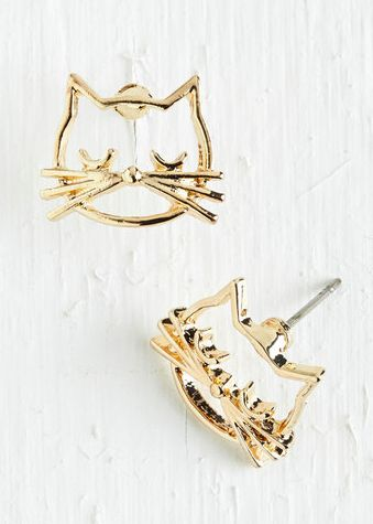 Cool cat earrings.
