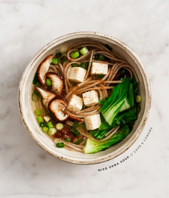 Miso shiitake soba soup