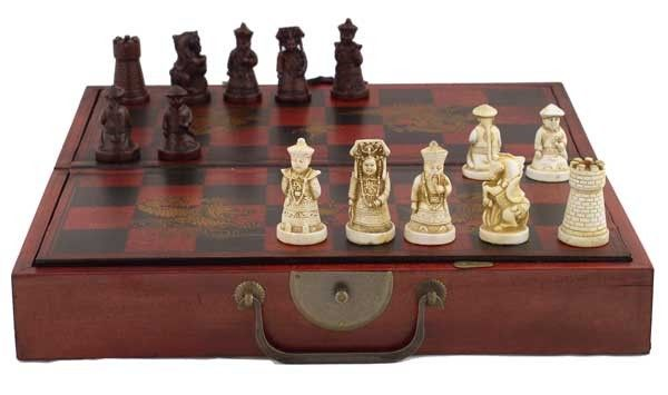 Collectible chinese antique style chess game set w leather case chess sets - Chess board display case ...