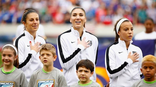 (L-R) Carli Lloyd, #10, Hope Solo #1  and Mallory Pugh of the United States
