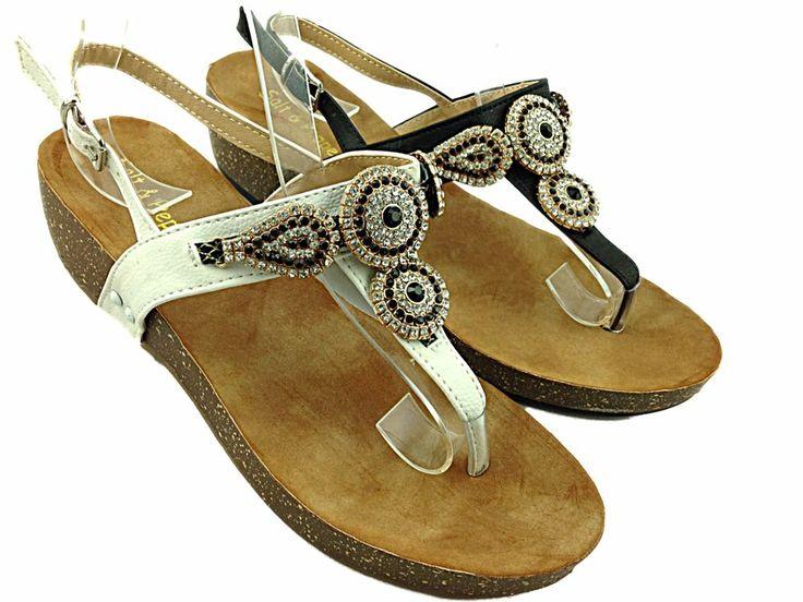 Ladies/Girls Flat Diamanté Flip Flop Sandals  Available in Black Or White  £24.99