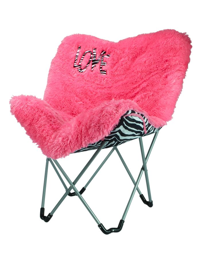 Pink Faux Fur Butterfly Chair