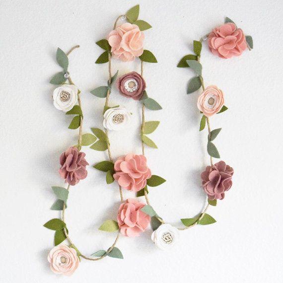 Felt Flower Garland//Mixed Flower//CUSTOM by EnchantedBowShop