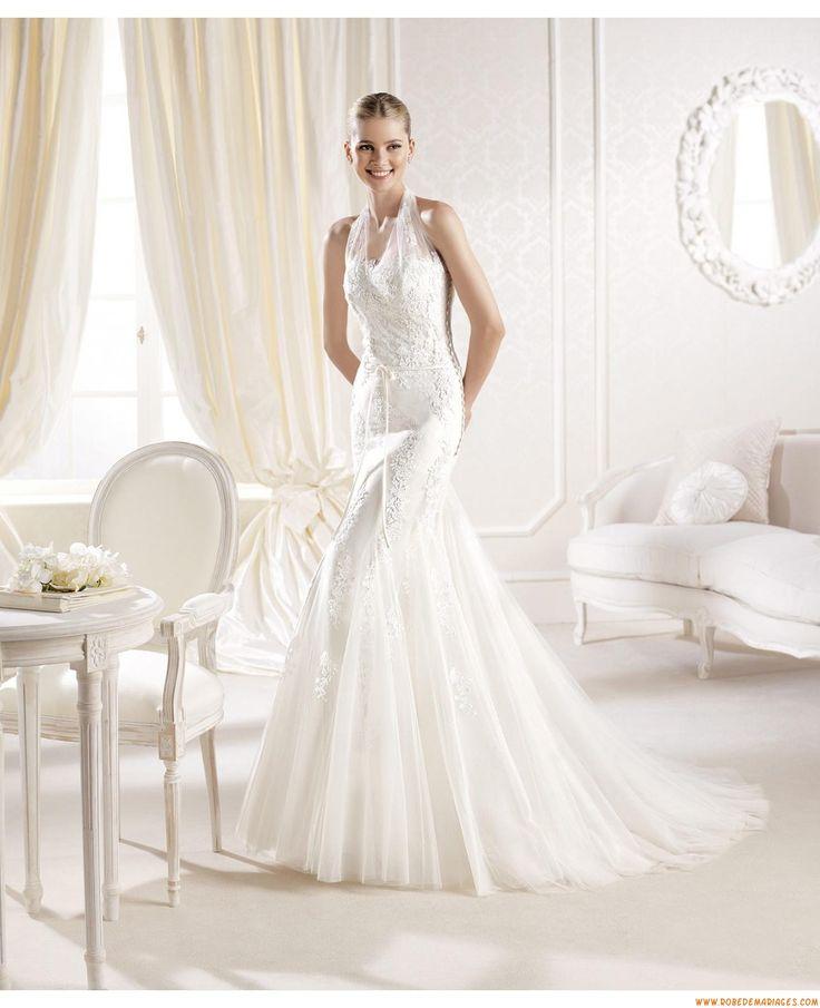 Robes de mariée sirène tulle application dentelle avec manteau tulle