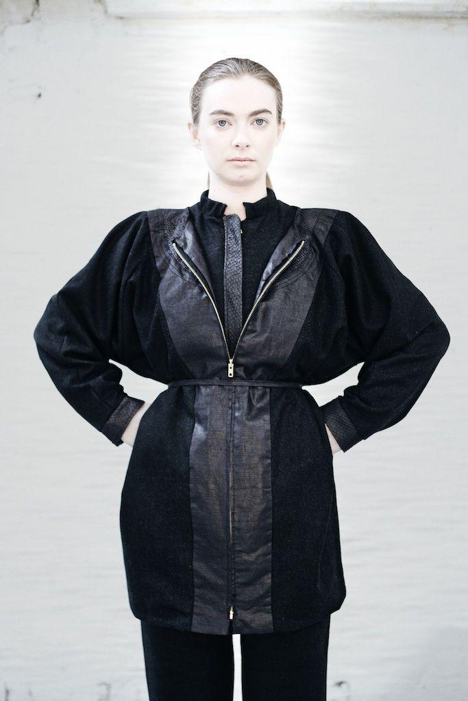 We are Islanders Irish Wool Coat with Salmon Leather Skin Finishing with Zip