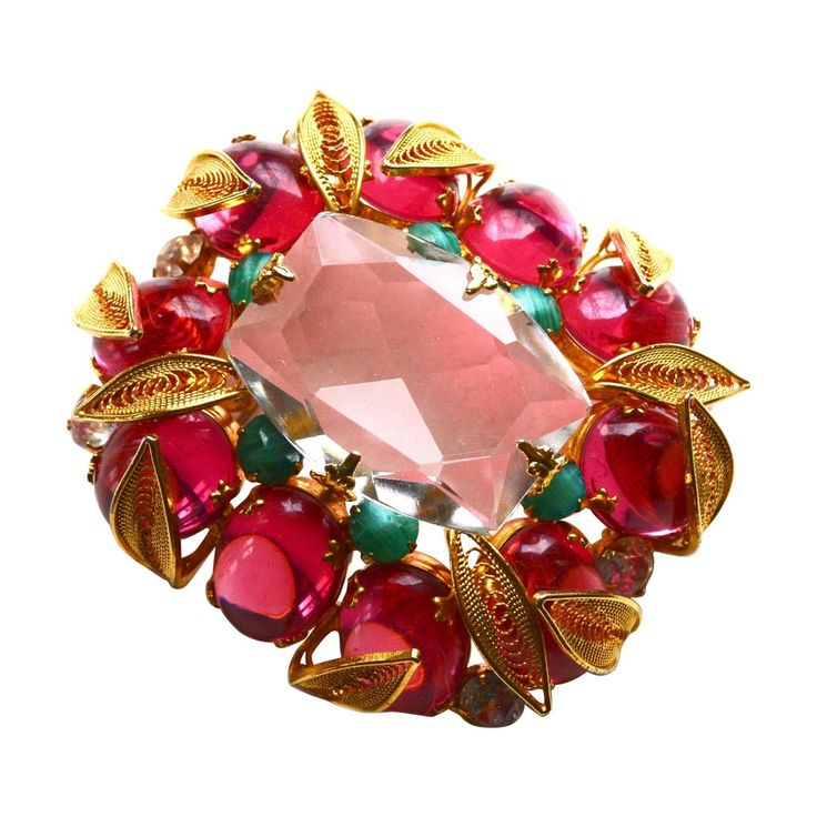 Schreiner New York Lush Glass Gemstone Brooch | From a unique collection of vintage brooches at https://www.1stdibs.com/jewelry/brooches/brooches/