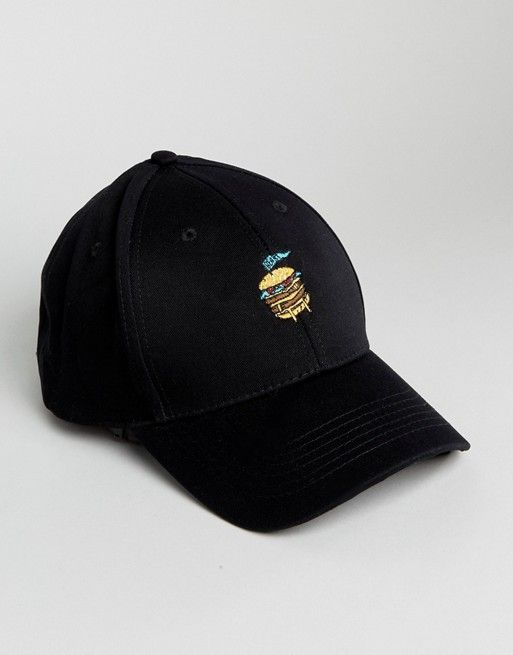 ASOS Baseball Cap In Black With Burger Embroidery Dad Hats 68f9c8b66de
