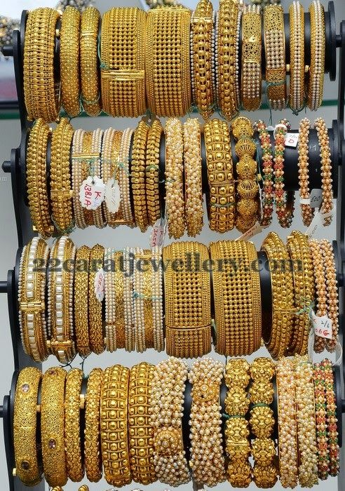 Jewellery Designs: Latest Pearls and Gold Bangles Gallery