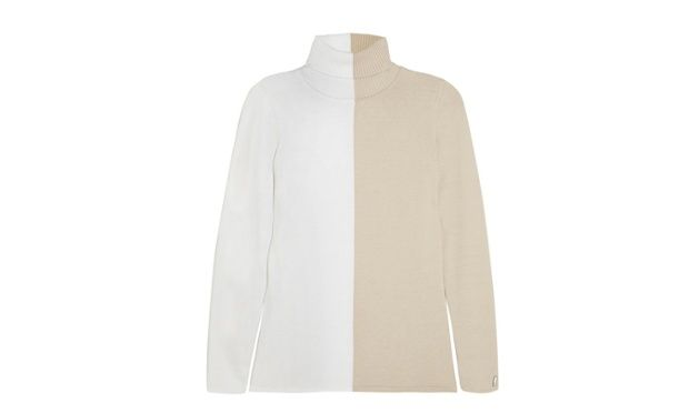 Polo necks - two tone white and camel jumper by Fendi