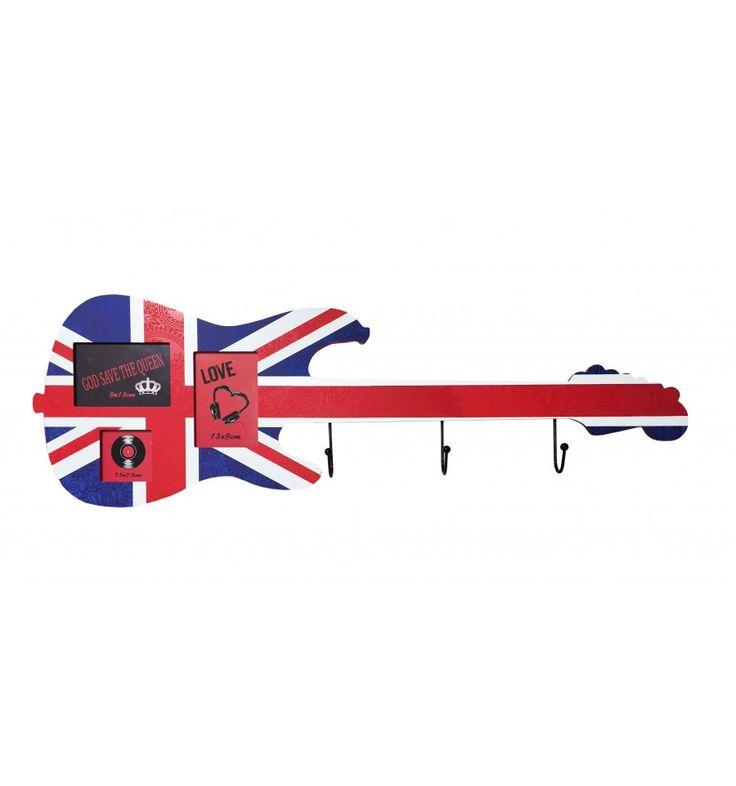 Portafotos perchero pared Guitarra Bandera inglesa