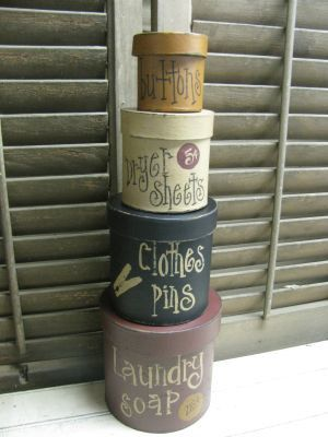 Primitive Laundry Room Stacking Boxes by GainersCreekCrafts, $24.99