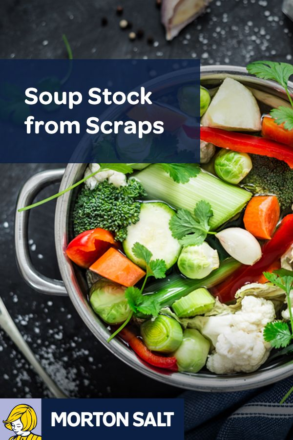 Soup Stock from Kitchen Scraps recipe // antioxidant-packed veggie scraps are the star in this hearty stock. Make the classic recipe your own with a basic blend of water, herbs and anything from carrot tops to shellfish shells.