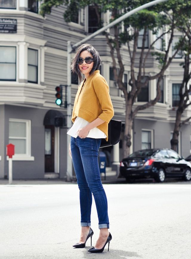 Relaxed chic outfit - cropped mustard jacket with cream blouse, denim and heels