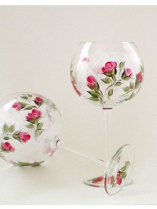 hand painted wine glasses ideas | hand painted wine glasses hand painted wine glasses classic deep red ...