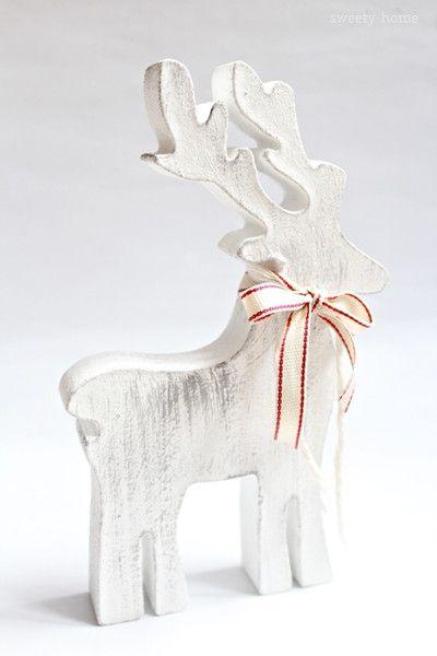 Ozdoba świąteczna RENIFER RETRO Boże Narodzen 20cm - sweety-home - Dekoracje: drewno