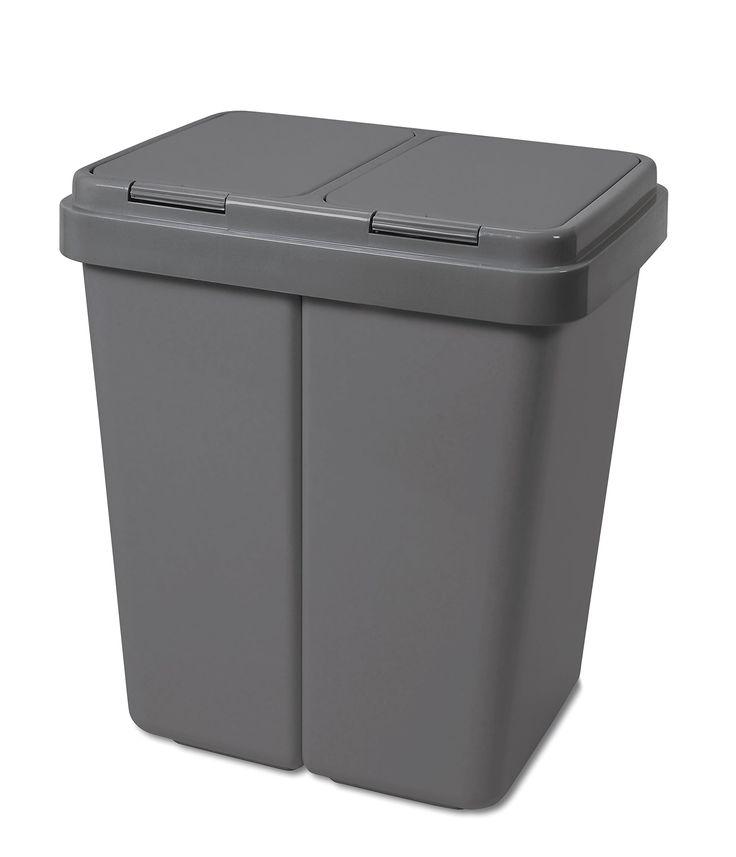 Alpfa Müllbehälter 2 x 30 L Duo Bin GRAU / GRAU NEUE FARBE !!! - Made in Europe INKL. 2 ERSATZFEDERN: Amazon.de: Küche & Haushalt