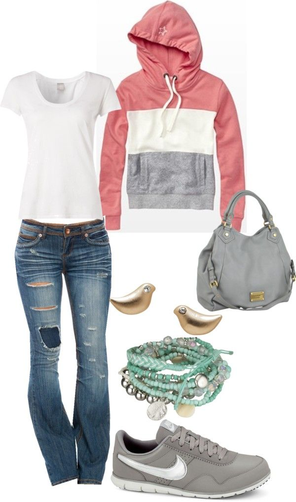 """comfy"" and cute...Jean, Gray Nikes, Gold Bird Earrings, Turquoise Beaded Bracelets, White Tee.  Especially love the pink, white & gray color blocked hoodie sweatshirt"