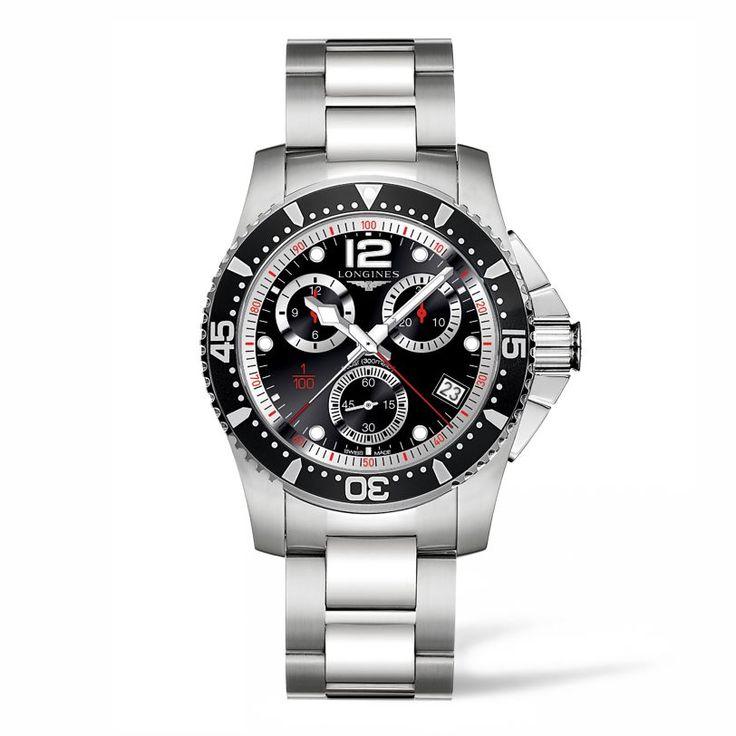 L37434566 Ανδρικό αδιάβροχο ρολόι LONGINES HydroConquest με μπρασελέ, μαύρο καντράν, χρονογράφο και ημερομηνία | Ρολόγια ΤΣΑΛΔΑΡΗΣ στο Χαλάνδρι  #conquest #χρονογράφος #longines #ρολόι