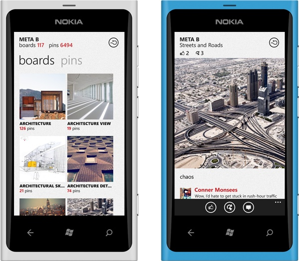 Concept for a metrostyle Pinterest-App for Windows Phone by  Conner Monsees. Yes, please?    More awesome Metro designconcepts:  http://conner-monsees.deviantart.com/gallery/