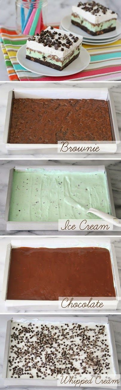 "ingredients:  Brownie Layer-  Choose a boxed mix designed for a 9""x9"" pan. I used Ghirardelli Fudge Brownies.  Ice Cream Layer-  1 cart..."