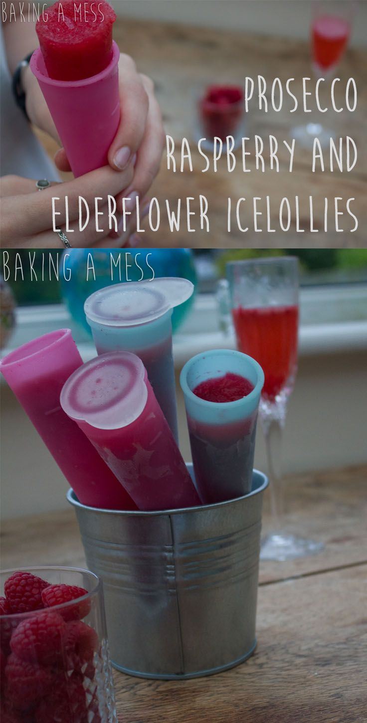 Prosecco, raspberry and elderflower ice lollies! Refreshing and slightly naughty summer treat... | Baking a Mess