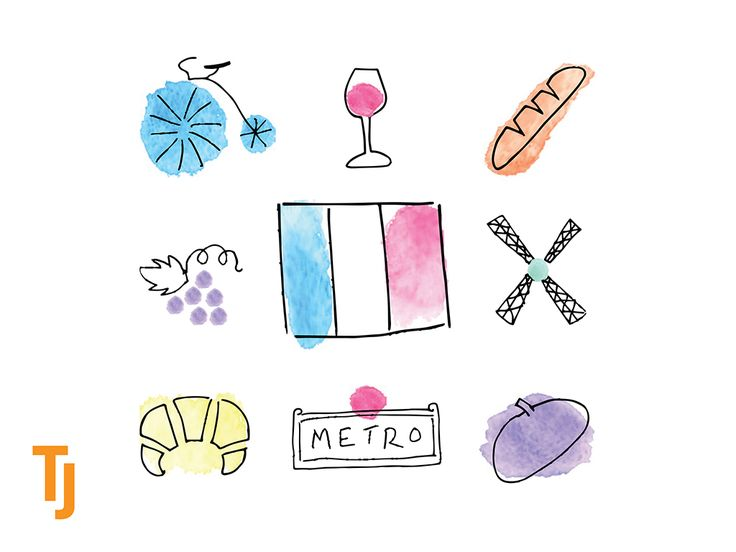 #icons inspired by #Paris #iconography #watercolours #penillustration #pendrawing #graphicdesign