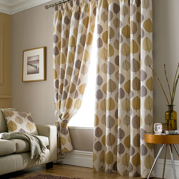 Ochre Regan Collection Lined Pencil Pleat Curtains Chic Living RoomLiving