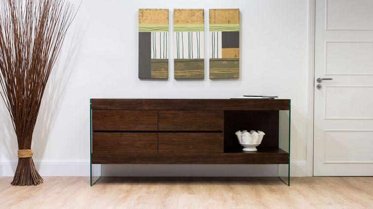 Dark Wood Sideboard with Glass Legs