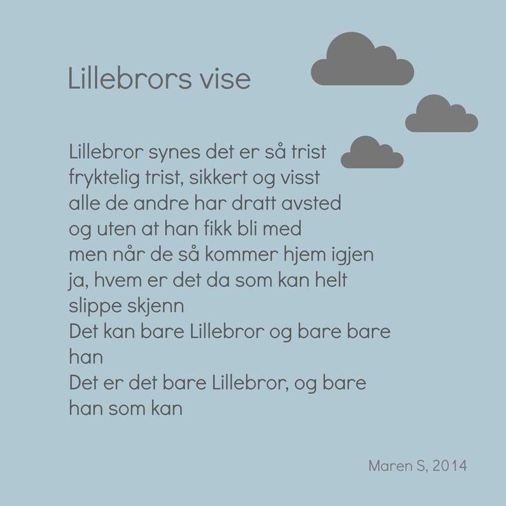 Lillebrors vise. Alf Prøysen. Barnesanger. Interiør. Poster. Print. Barnerom. Maren S, 2014