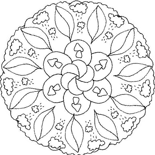 * Mandala: Herfst-wolk-regen-blad-paddenstoelen
