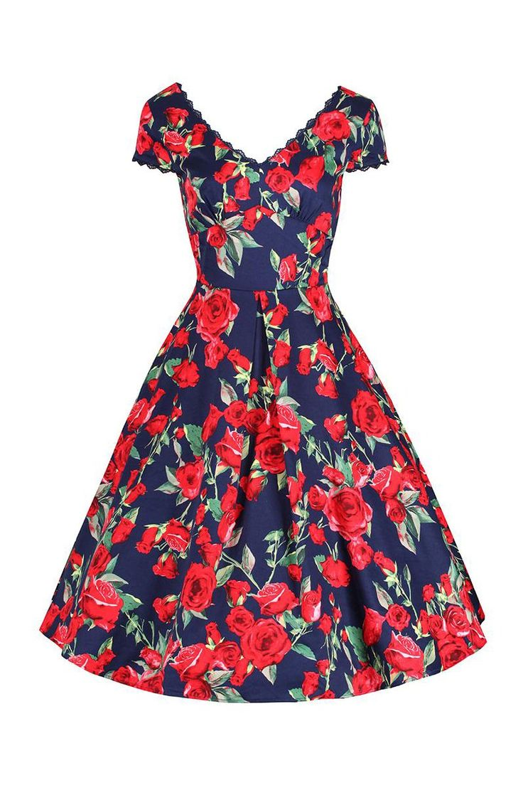 Navy Blue and Red Rose Floral V Neck Capped Sleeve 50s Swing Dress